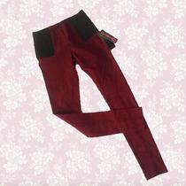 Hermoso Pantalón Strech Color Vino Talla S 100% Nuevo