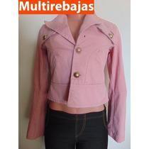 Chompa Jeans Rosada Para Mujer, Con Botones Talla S