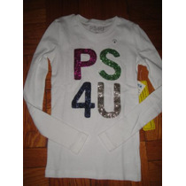 Camiseta Ps De Aeropostale Medium 10 Con Brillos Manga Larga