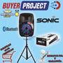 Caja Amplificada Sonic 20000w Usb Bluetooth + Pedestal + Mic | BUYERPROJECT